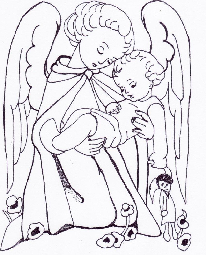 Angelo custode for Disegni di angeli da colorare per bambini
