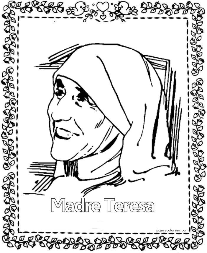 Mother Teresa Coloring Page To Print Pictures to Pin on Pinterest