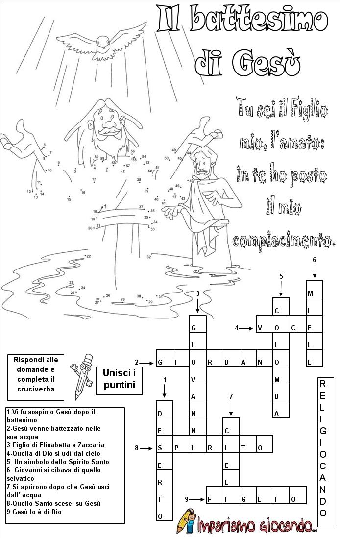 Il battesimo di ges for Crucipuzzle quaresima