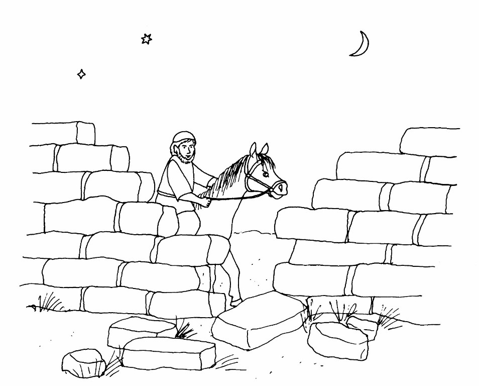 Nehemiah Examines The Walls At Night