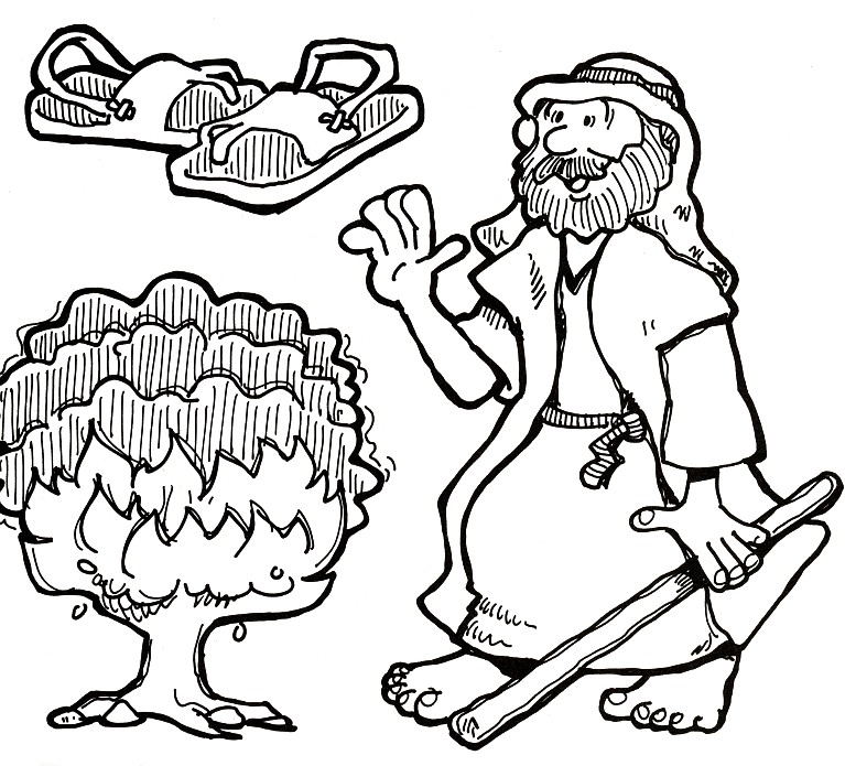 Moses and the burning bush bible ot moses adult life for Moses and burning bush coloring page