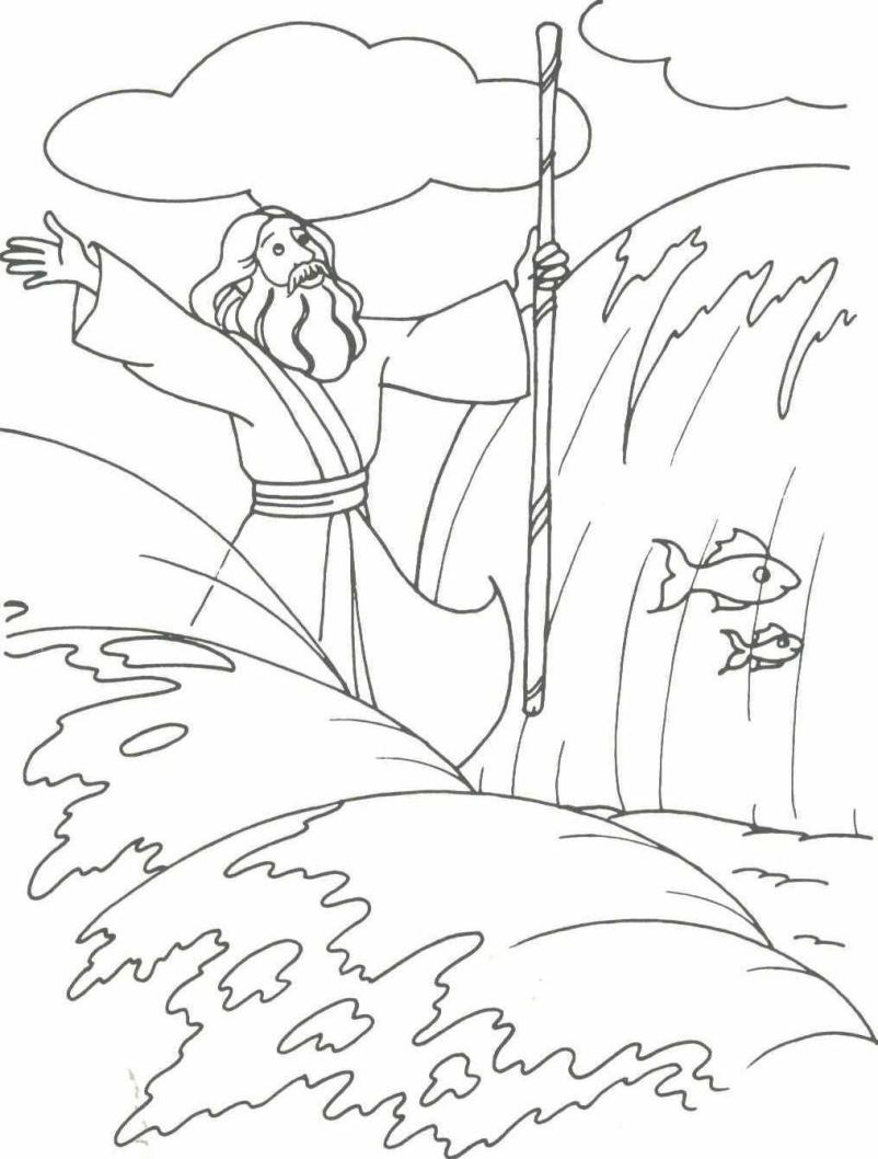 Free coloring pages of moses and the red sea for Parting of the red sea coloring page