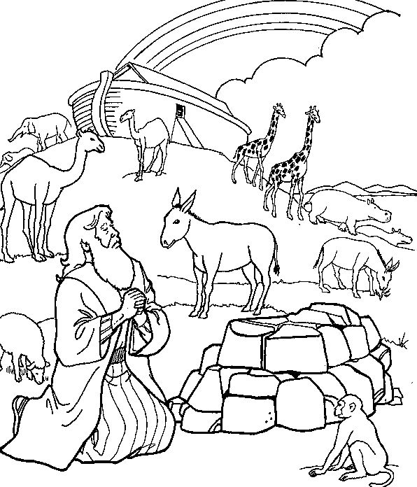 Noah Ark Rainbow Coloring Pages Sketch Coloring Page