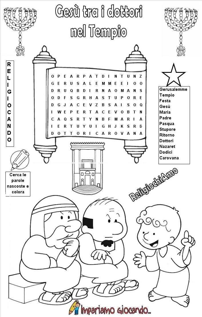 Ritrovamento di ges al tempio ges tra i dottori nel for Crucipuzzle quaresima