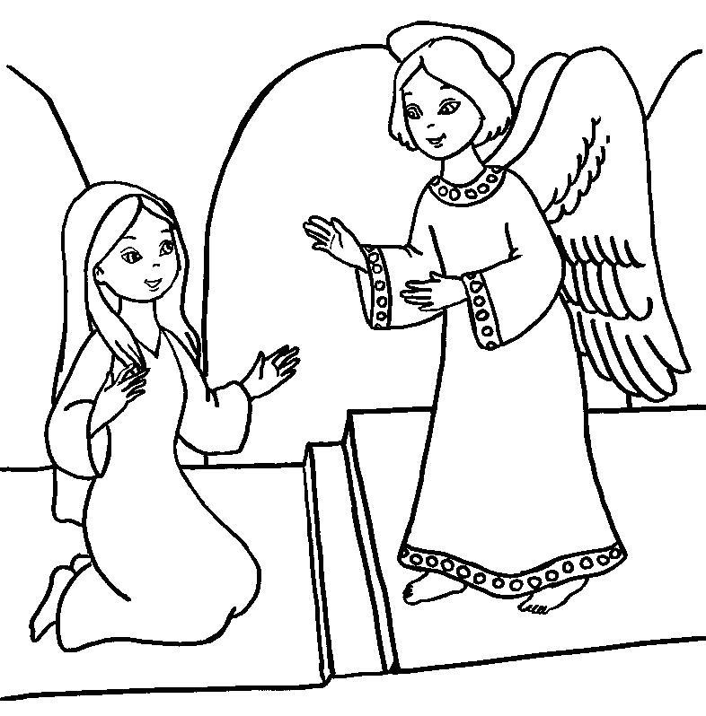 Mother Mary Coloring Page Light