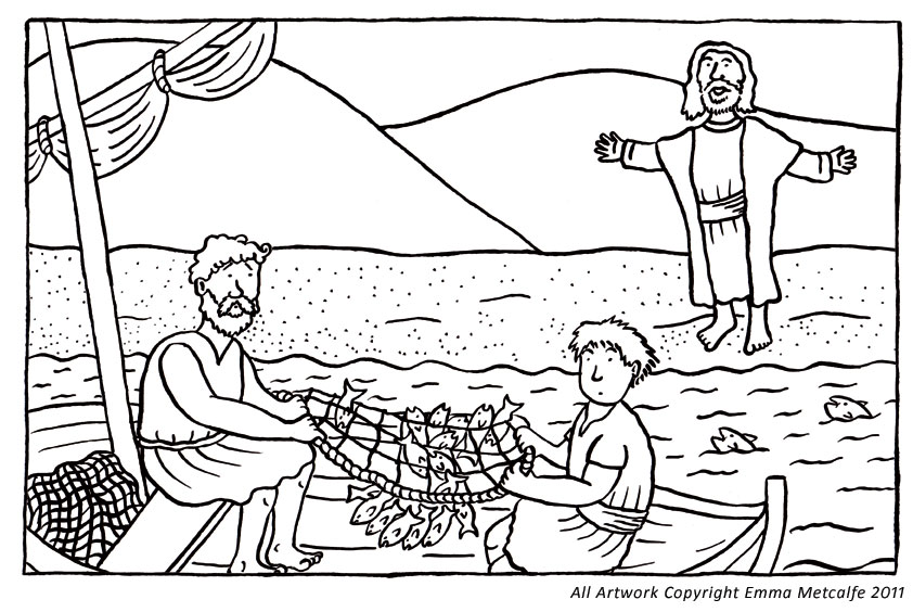 Disciples Coloring Page Walks Water: Jesus Calls His Disciples Coloring Page Sketch Coloring Page