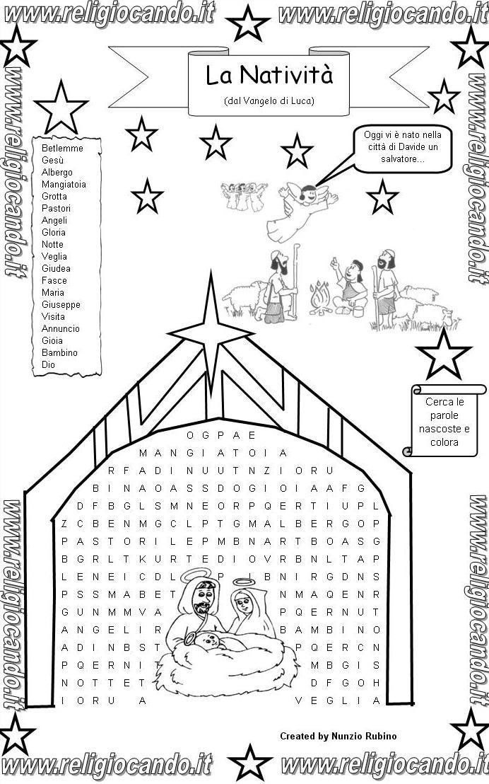 Religiocando disegni da colorare natale for Cruciverba per bambini catechismo