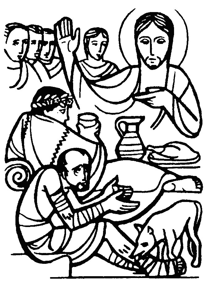 Lazarus begs at the rich mans gate bible jesus for Parable of the rich fool coloring page