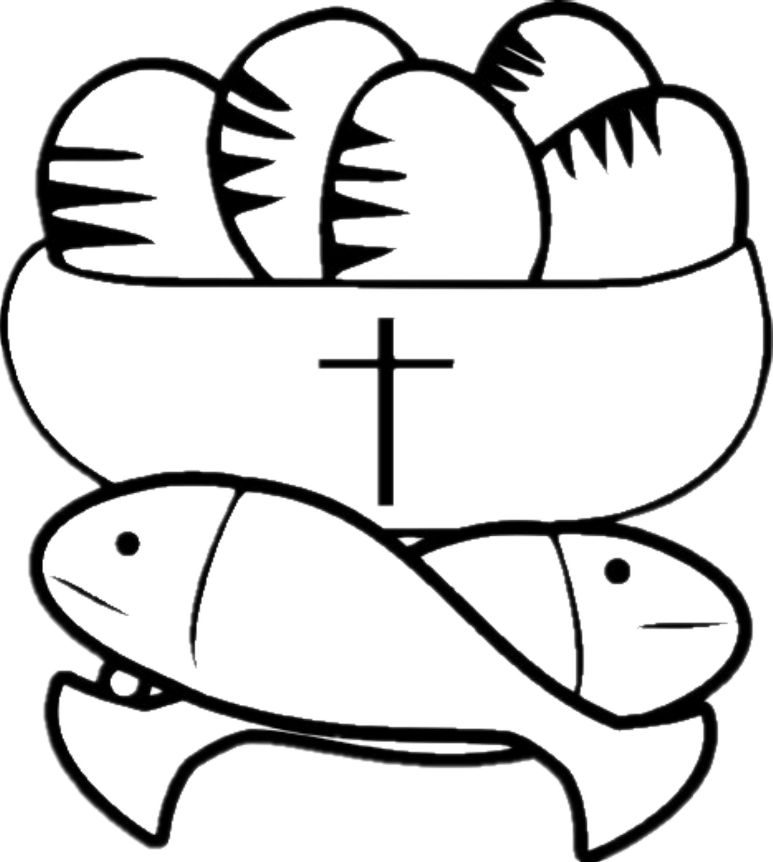 Free coloring pages of christian fish symbol for Fishes and loaves